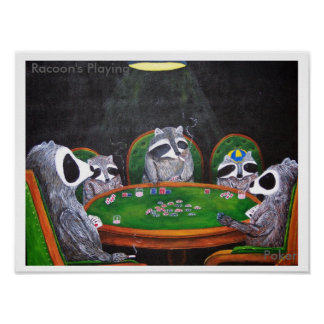 Racoon's Playing Poker Print