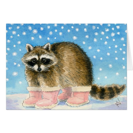 Racoon'sSnow Day greeting card