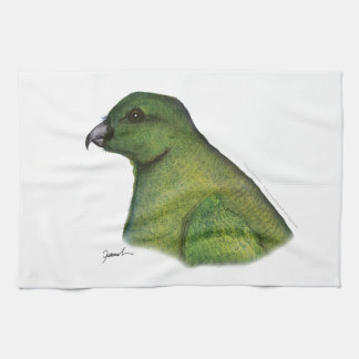 racquet-tailed parrot, tony fernandes tea towel