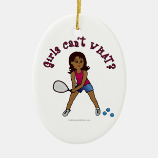 Racquetball Girl (Dark) Ceramic Oval Decoration