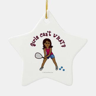 Racquetball Girl (Dark) Ceramic Star Decoration
