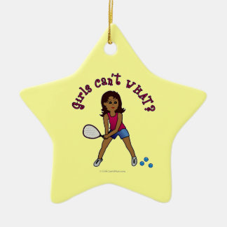 Racquetball Girl (Dark) Ceramic Star Decoration