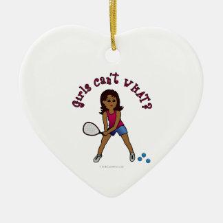 Racquetball Girl (Dark) Ceramic Heart Decoration