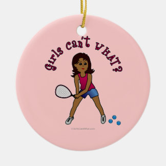 Racquetball Girl (Dark) Double-Sided Ceramic Round Christmas Ornament