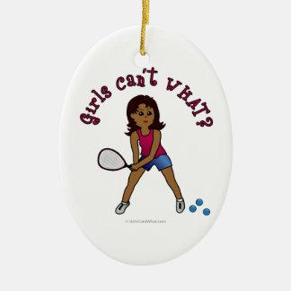 Racquetball Girl (Dark) Christmas Ornaments