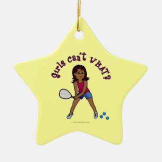 Racquetball Girl (Dark) Double-Sided Star Ceramic Christmas Ornament
