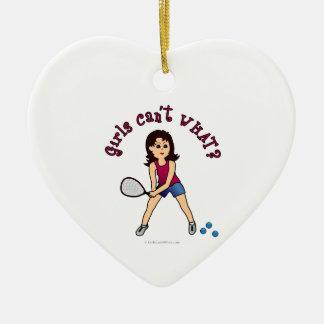 Racquetball Girl (Light) Ceramic Heart Decoration
