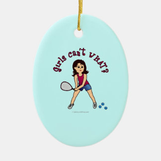 Racquetball Girl (Light) Ceramic Oval Decoration