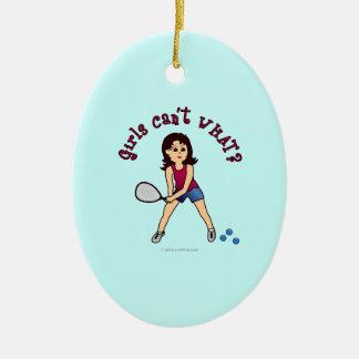 Racquetball Girl (Light) Ceramic Oval Decoration