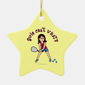 Racquetball Girl (Light) Ceramic Star Decoration