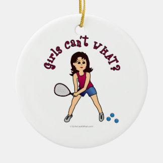Racquetball Girl (Light) Round Ceramic Decoration