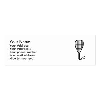 Racquetball racket pack of skinny business cards