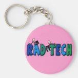 Rad Tech With Stick People and Xrays Design Basic Round Button Key Ring