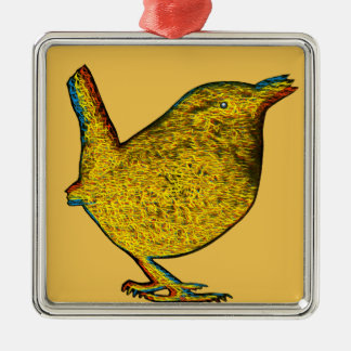 Rad Yellow Bird Christmas Ornament