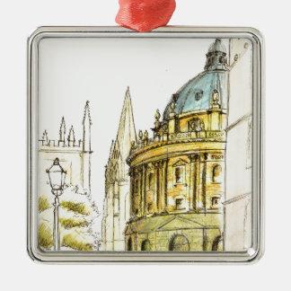 Radcliffe Camera original drawing Silver-Colored Square Decoration