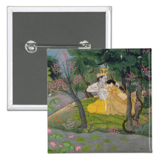 Radha and Krishna embrace in a grove of flowering 15 Cm Square Badge