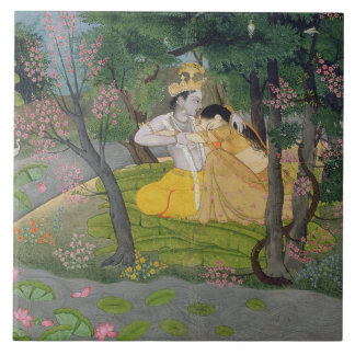 Radha and Krishna embrace in a grove of flowering Large Square Tile