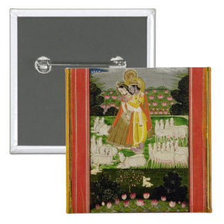 Radha and Krishna embrace in an idealised landscap 15 Cm Square Badge