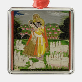 Radha and Krishna embrace in an idealised landscap Christmas Ornament
