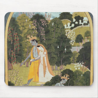 Radha and Krishna walking in a grove Mouse Mat
