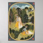 Radha and Krishna walking in a grove Poster