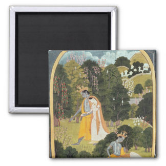 Radha and Krishna walking in a grove Square Magnet