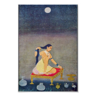 Radha At Night. Mughal Painting Ca 1650Th By Indis Poster