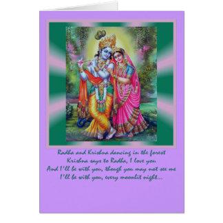 Radha Krishna words Greeting Card