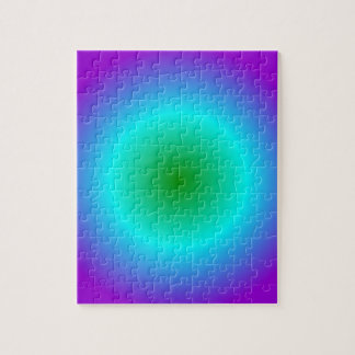 Radial Gradient - Violet, Cyan, Green Jigsaw Puzzle