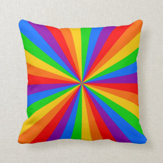 Radial Rainbow Color Stripes Cushion