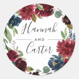 Radiant Bloom   Botanical Wreath Wedding Classic Round Sticker
