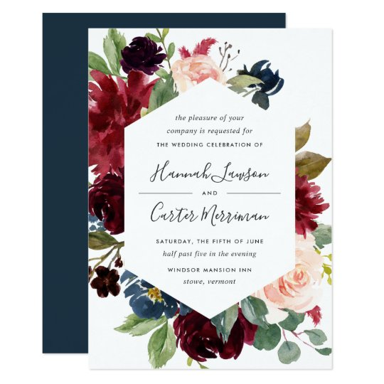 Radiant Bloom Frame Wedding Invitation Zazzle Co Uk
