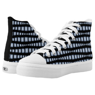 Radiant Diamonds on Black High Top Printed Shoes