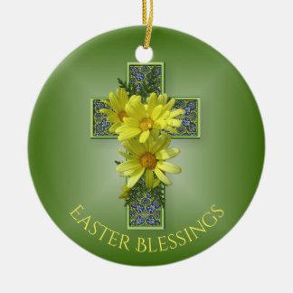 Radiant Easter Daisies Cross Custom Keepsake Christmas Ornament