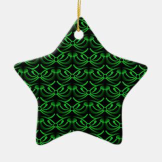 Radiant Elegance Christmas Star Ornament, Green Ceramic Star Decoration