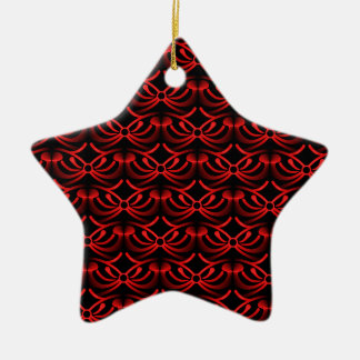 Radiant Elegance Christmas Star Ornament, Red Ceramic Star Decoration