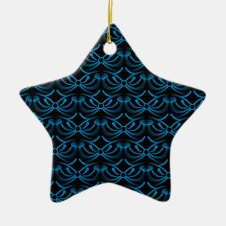 Radiant Elegance Star Christmas Ornament, Blue Ceramic Star Decoration