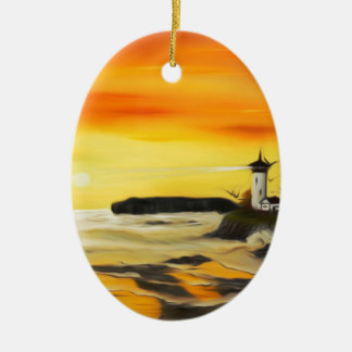 Radiant Golden Lighthouse Sunset - Dreamy Mirage Christmas Ornament