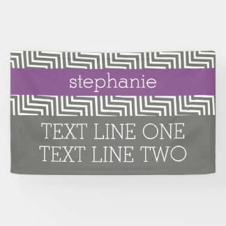 Radiant Orchid and Grey Chevrons Custom Name