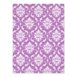 Radiant Orchid Classic Damask Pattern 17 Cm X 22 Cm Invitation Card