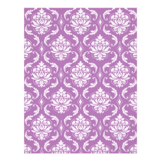 Radiant Orchid Classic Damask Pattern Flyer Design