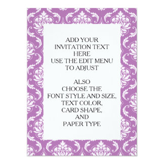 "Radiant Orchid Classic Damask Pattern 6.5"" X 8.75"" Invitation Card"