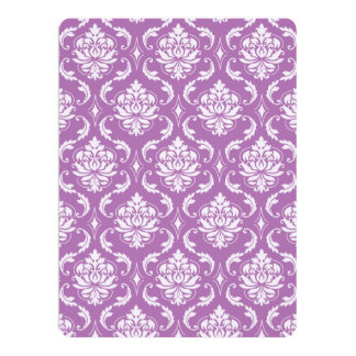 """Radiant Orchid Classic Damask Pattern 6.5"""" X 8.75"""" Invitation Card"""