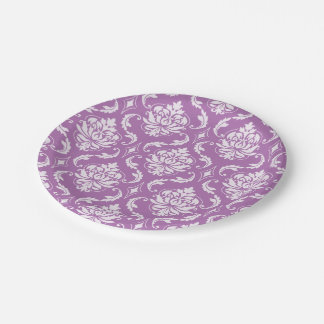 Radiant Orchid Classic Damask Pattern Paper Plate