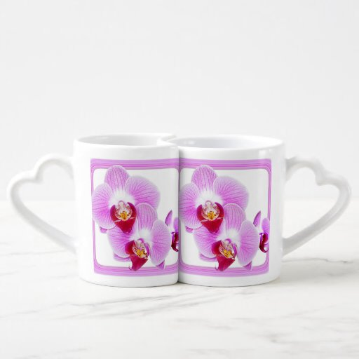 Radiant Orchid Closeup Photo with Square Frame Lovers Mug Set