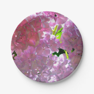Radiant Pink Hydrangea 7 Inch Paper Plate