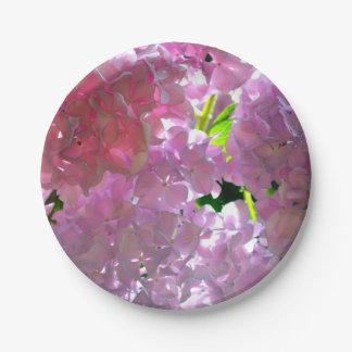 Radiant Pink Hydrangea Paper Plate
