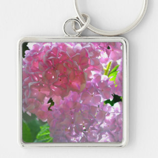 Radiant Pink Hydrangeas Silver-Colored Square Key Ring