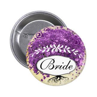 Radiant Purple Heart Leaf Tree Wedding 6 Cm Round Badge