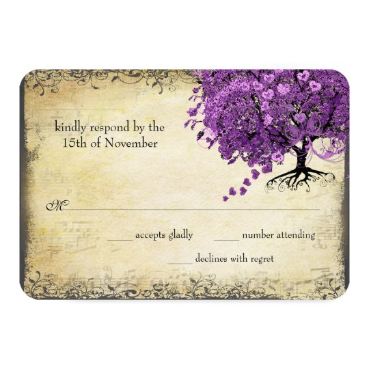 Radiant Purple Heart Leaf Tree Wedding Card